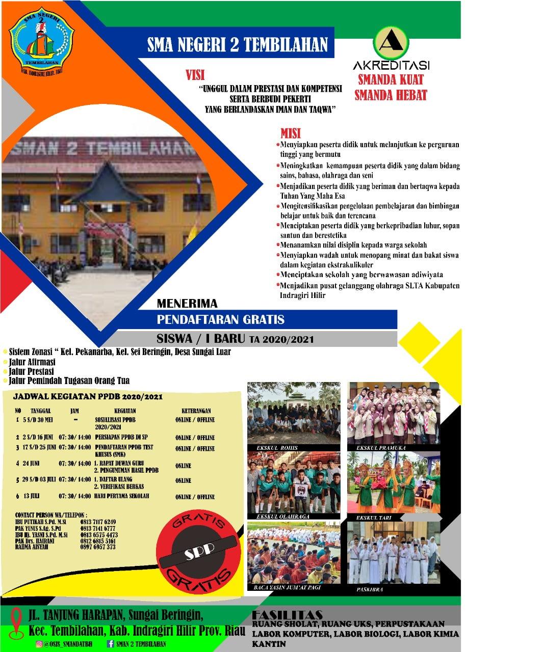 SMA Negeri 2 Tembilahan Menerimaan siswa siswi baru